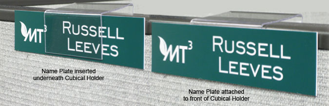 cubicle hanger for name plates use with double sided tape or tension set