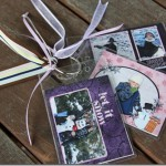 using badge holders to create a festive holiday photo album