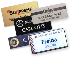 using logos as name tag features and name badge features