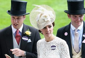 Prince William and Catherine Duchess of Cambridge along with James Meade people who wear name tags at Royal Ascot Photo Chris Jackson - Getty Images