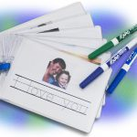 using badge holders with dry erase markers for a school book or photo album