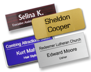Name tags as Christmas party favors.