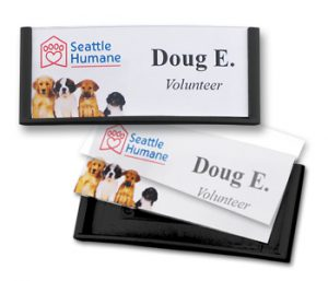 reusable name tags and badges help us to keep our many personal identification products green