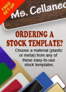 ordering a predefined stock template name tag or name badge with metal and plastic materials