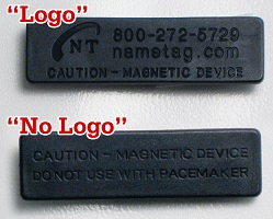 deluxe magnetic fastener for a name tag or name badge with or without logo