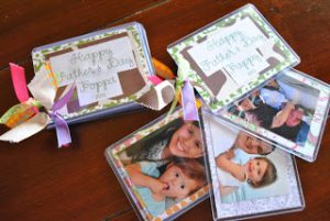 using badge holders as a creative and festive holiday photo album
