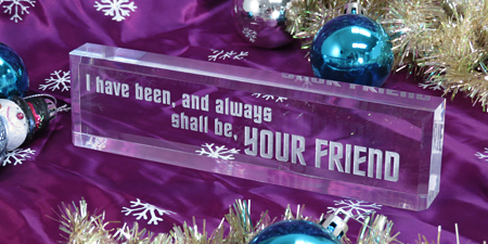 Clear acrylic desk blocks (name blocks) for holiday decor