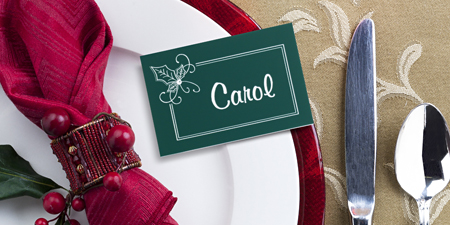 Green table placement name tag for a Christmas party.
