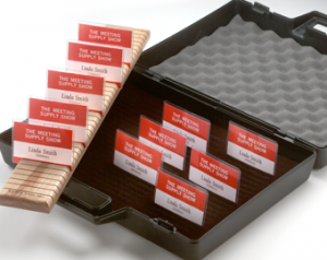 badge holder cases and custom trays to display your name tags for your next networking event
